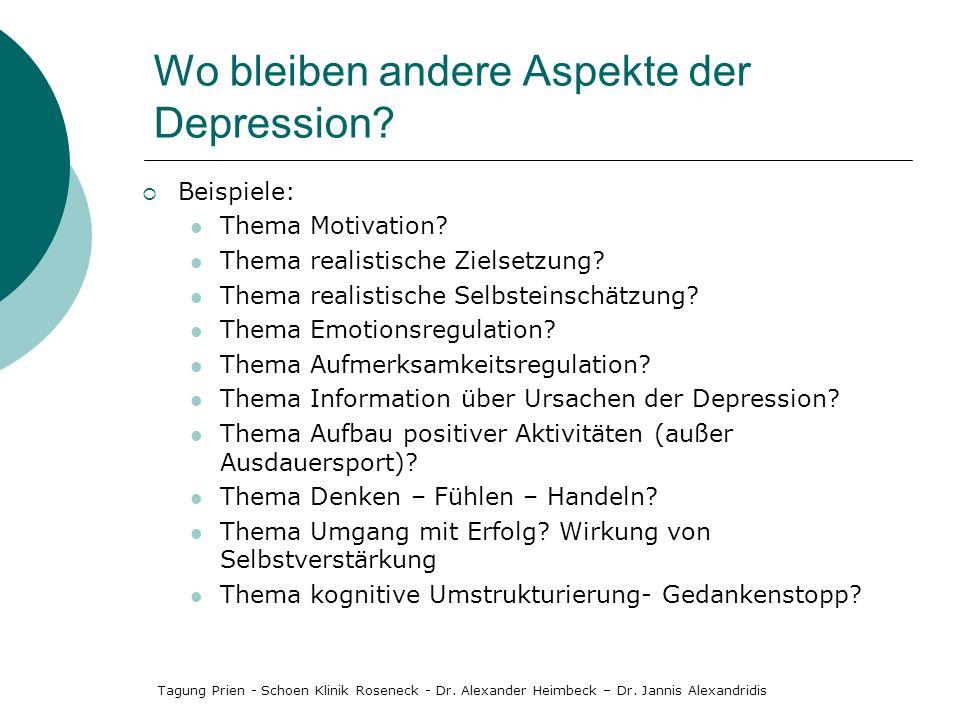 Wo bleiben andere Aspekte der Depression