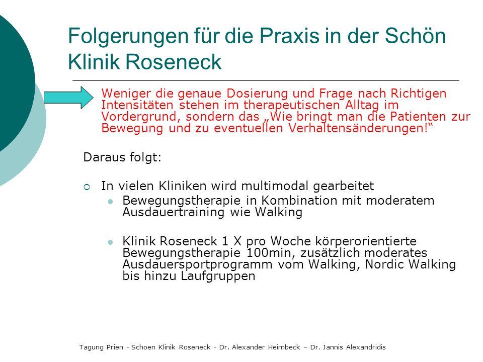 Folgerungen für die Praxis in der Schön Klinik Roseneck