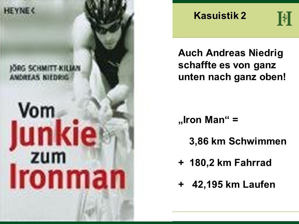 """Kasuistik 2Auch Andreas Niedrig schaffte es von ganz unten nach ganz oben! """"Iron Man = 3,86 km Schwimmen."""