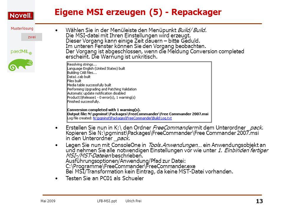 Eigene MSI erzeugen (5) - Repackager