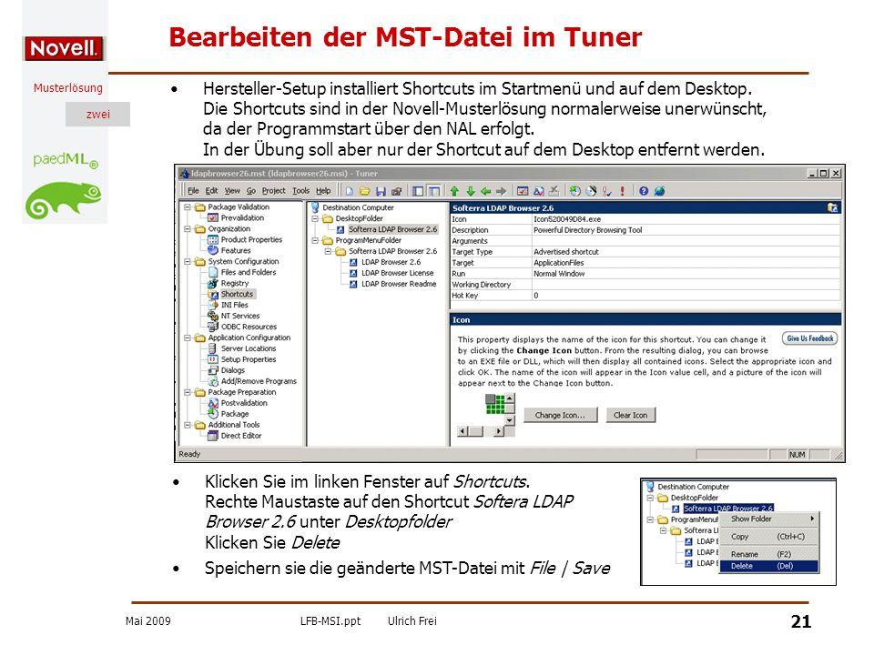 Bearbeiten der MST-Datei im Tuner