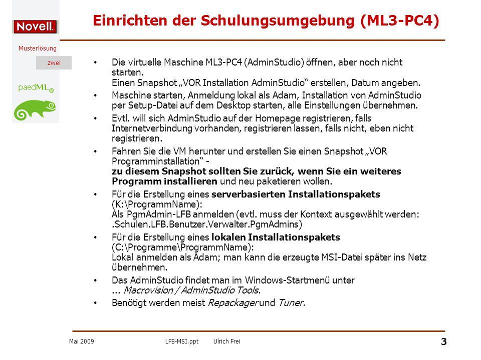 Einrichten der Schulungsumgebung (ML3-PC4)