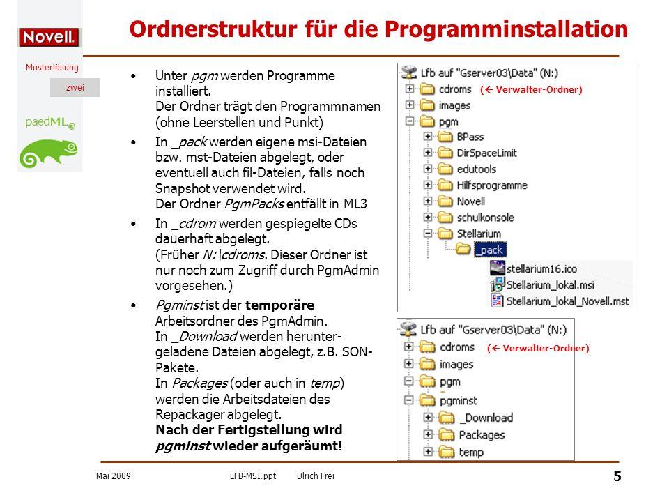 Ordnerstruktur für die Programminstallation