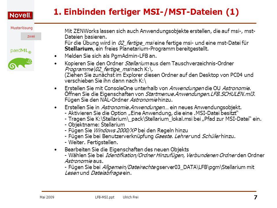 1. Einbinden fertiger MSI-/MST-Dateien (1)