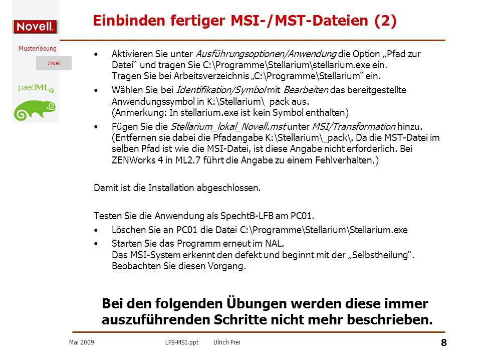 Einbinden fertiger MSI-/MST-Dateien (2)