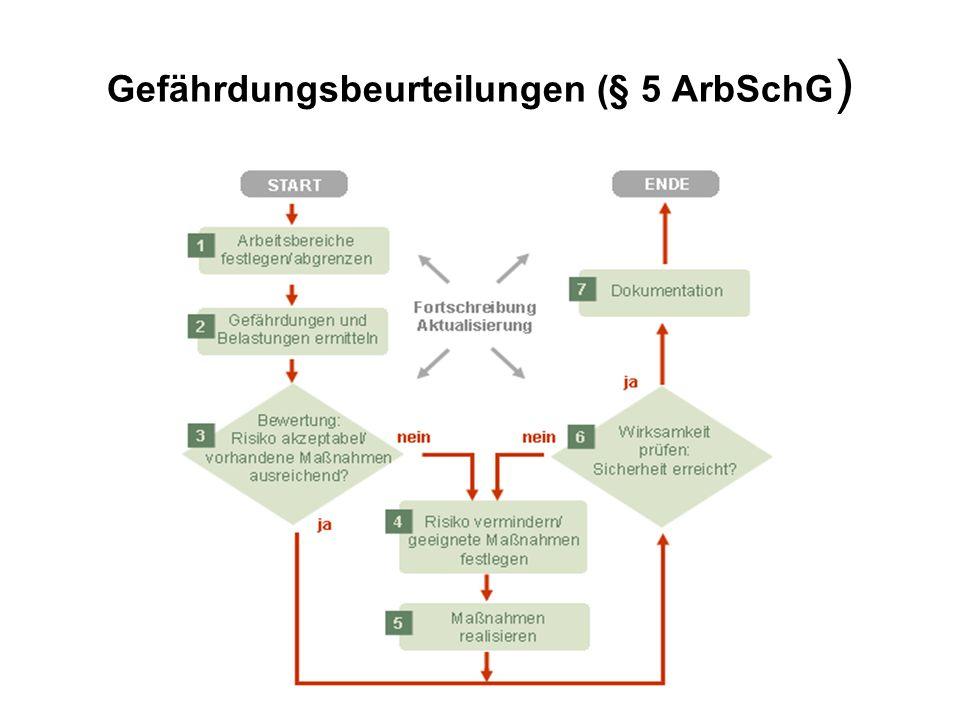 Gefährdungsbeurteilungen (§ 5 ArbSchG)