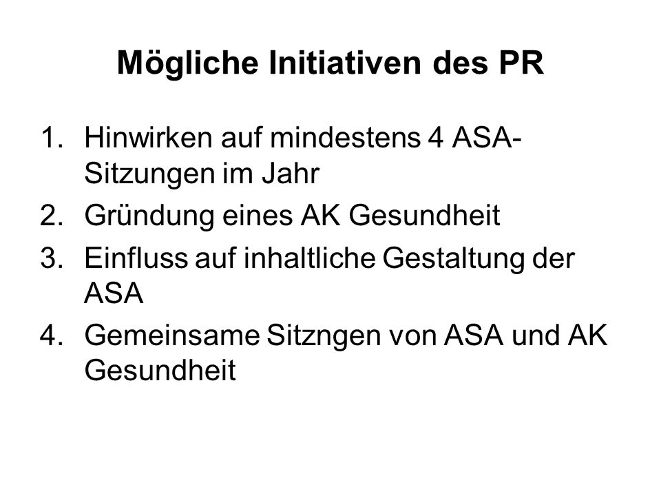 Mögliche Initiativen des PR
