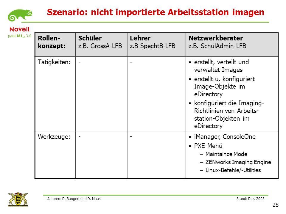 Szenario: nicht importierte Arbeitsstation imagen