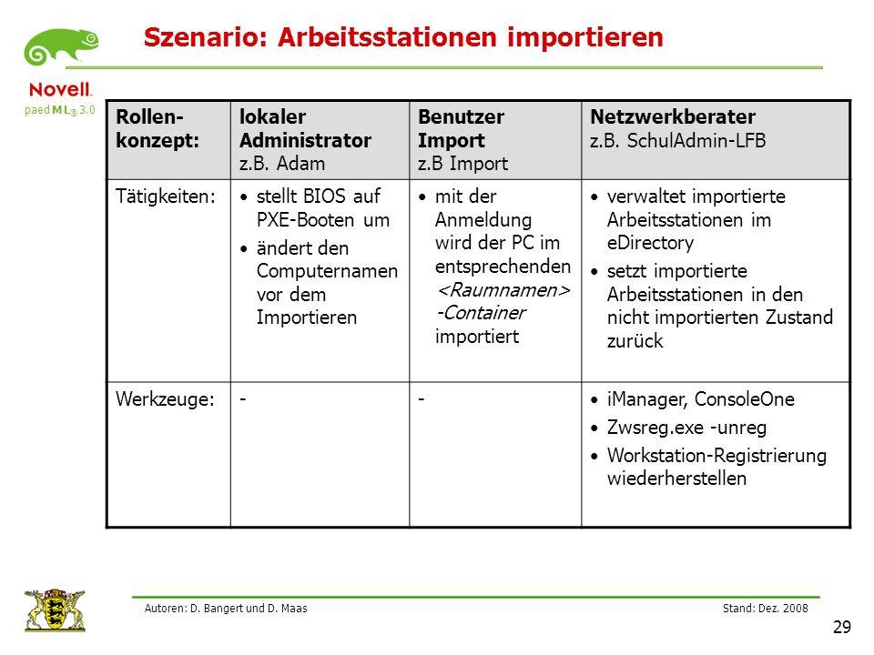 Szenario: Arbeitsstationen importieren