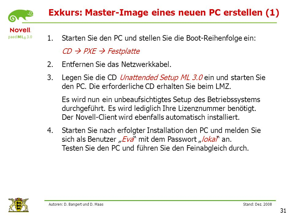 Exkurs: Master-Image eines neuen PC erstellen (1)