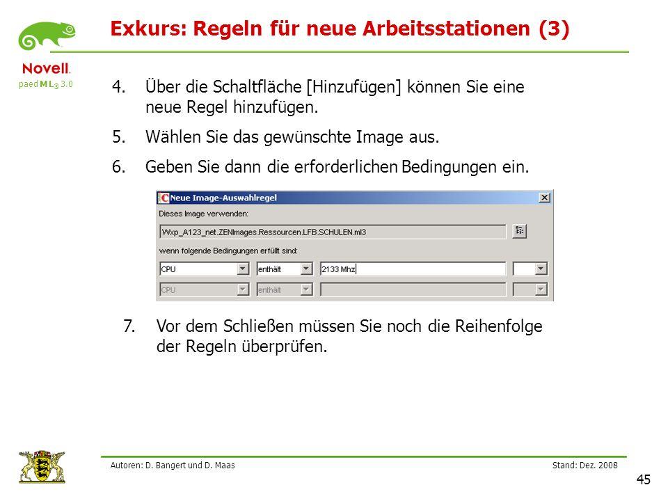Exkurs: Regeln für neue Arbeitsstationen (3)