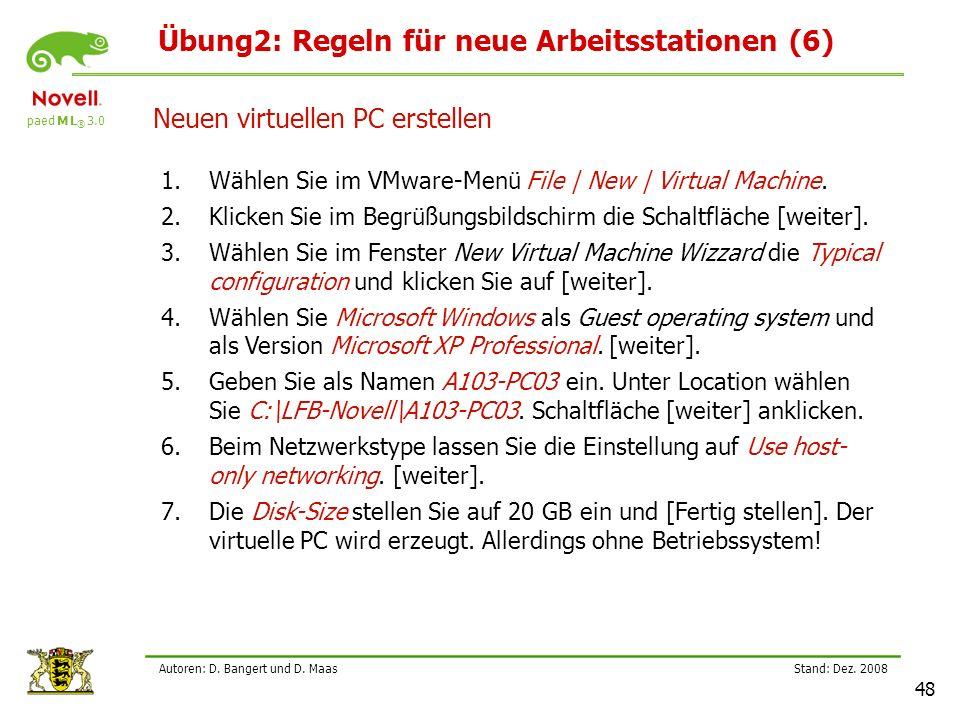 Übung2: Regeln für neue Arbeitsstationen (6)