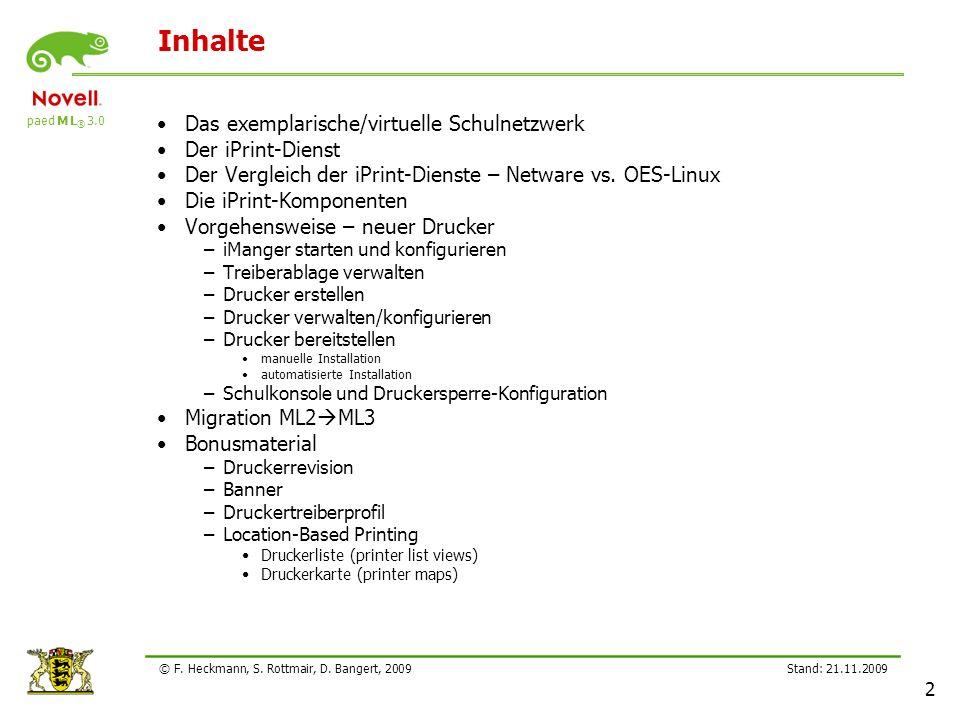 Inhalte Das exemplarische/virtuelle Schulnetzwerk Der iPrint-Dienst