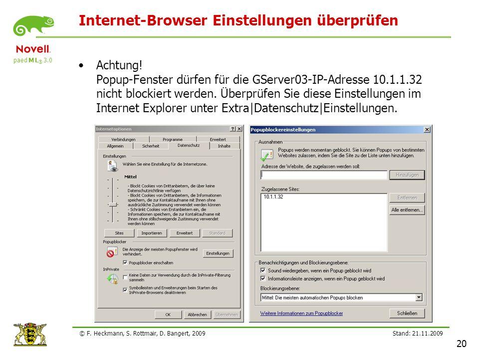 Internet-Browser Einstellungen überprüfen