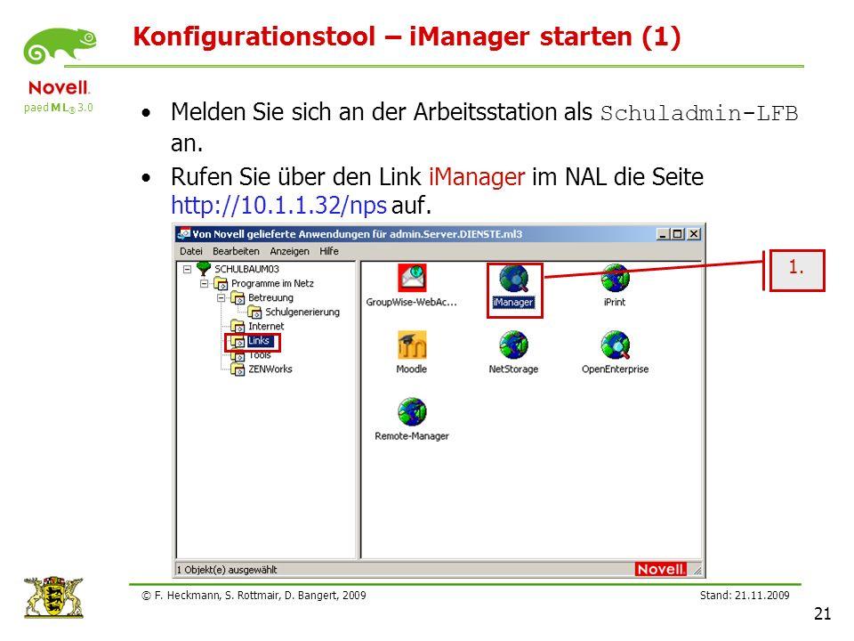 Konfigurationstool – iManager starten (1)