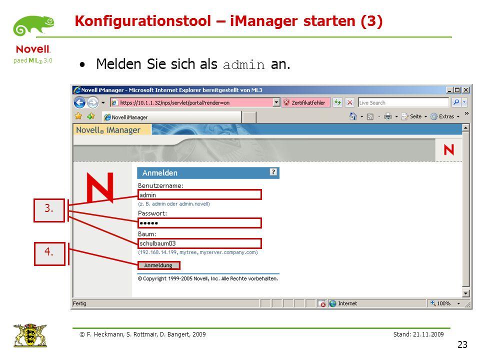 Konfigurationstool – iManager starten (3)