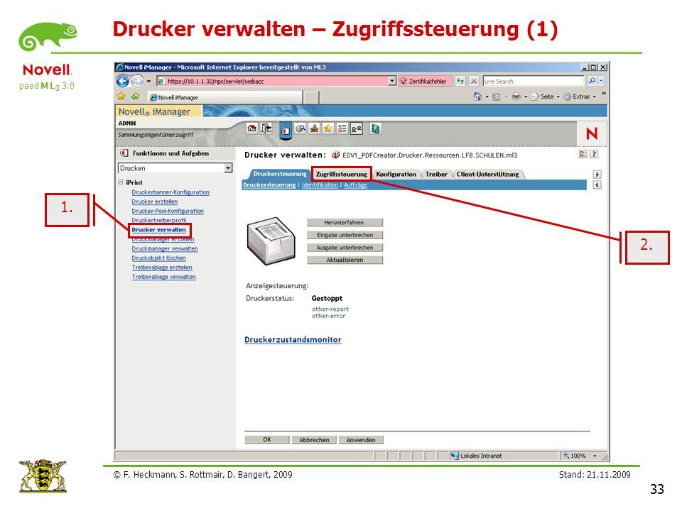 Drucker verwalten – Zugriffssteuerung (1)