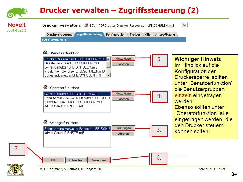 Drucker verwalten – Zugriffssteuerung (2)