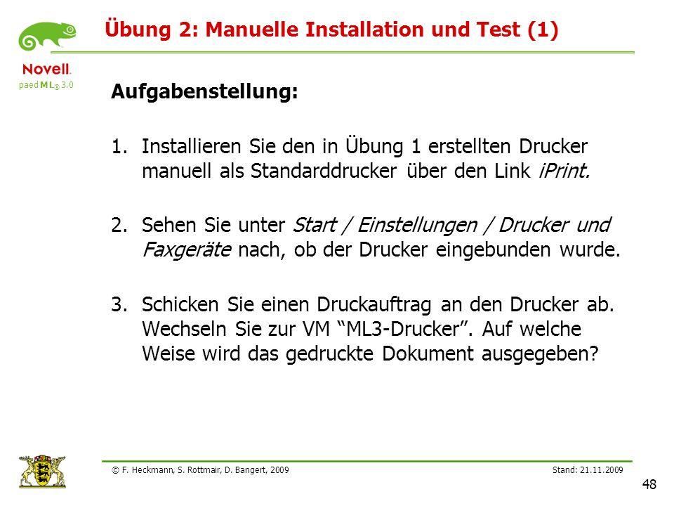 Übung 2: Manuelle Installation und Test (1)