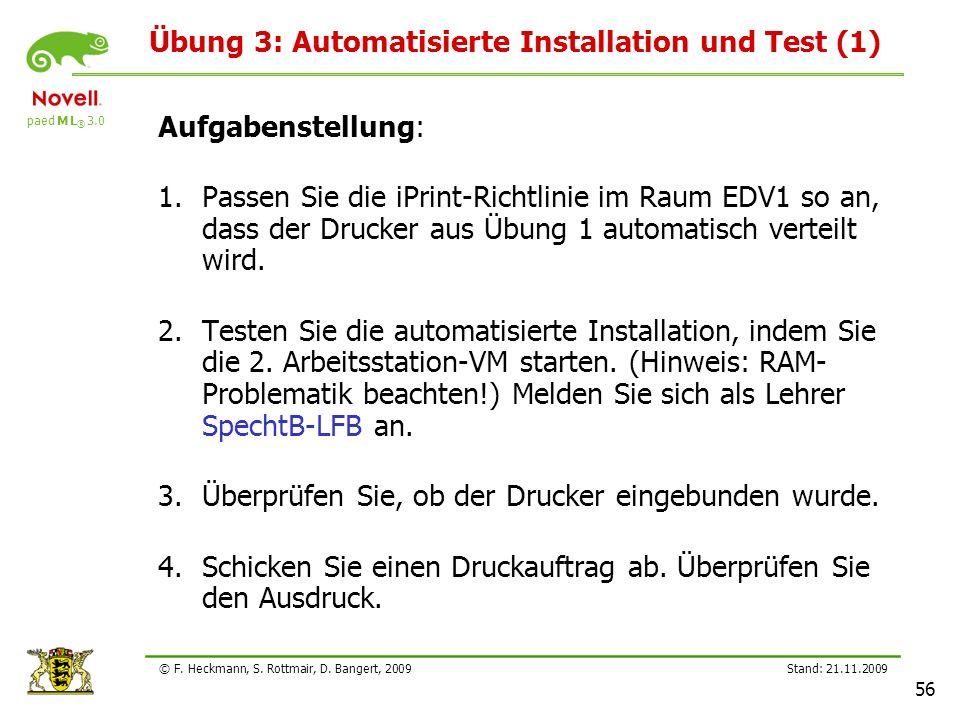 Übung 3: Automatisierte Installation und Test (1)