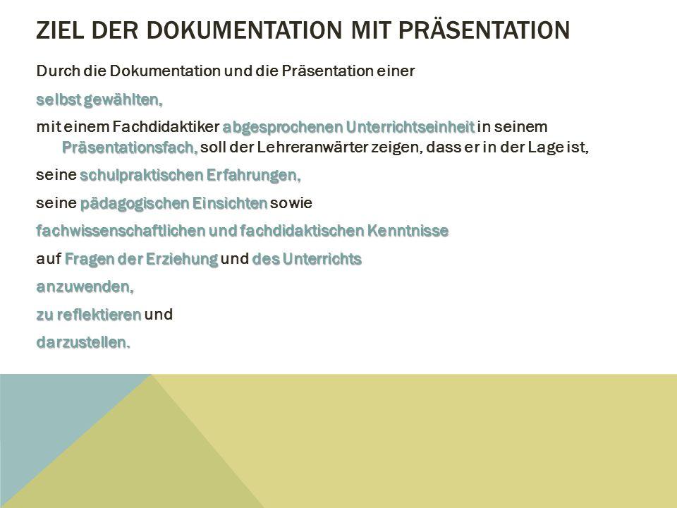Ziel der Dokumentation mit Präsentation