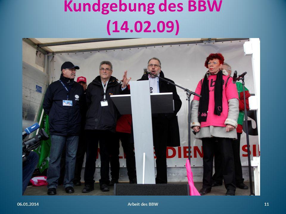Kundgebung des BBW (14.02.09) 25.03.2017 Arbeit des BBW 11