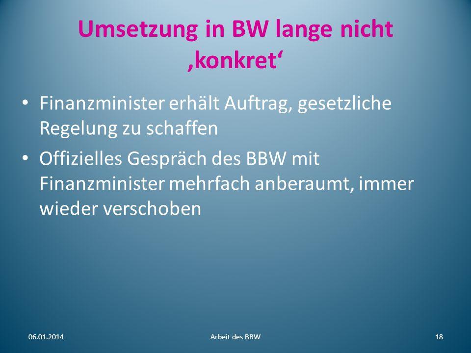 Umsetzung in BW lange nicht 'konkret'