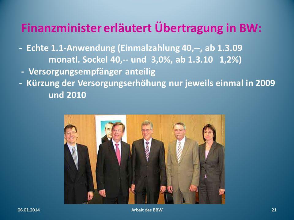 Finanzminister erläutert Übertragung in BW: