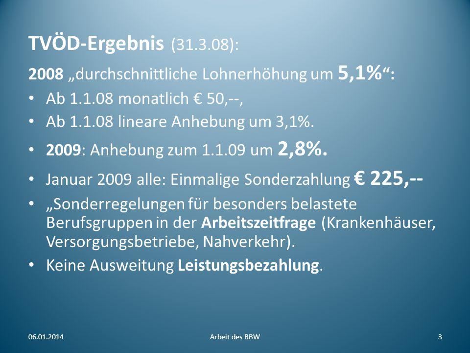 """TVÖD-Ergebnis (31.3.08): 2008 """"durchschnittliche Lohnerhöhung um 5,1% : Ab 1.1.08 monatlich € 50,--,"""