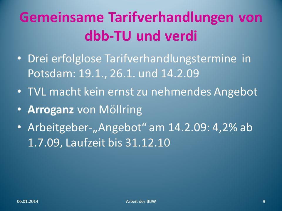 Gemeinsame Tarifverhandlungen von dbb-TU und verdi