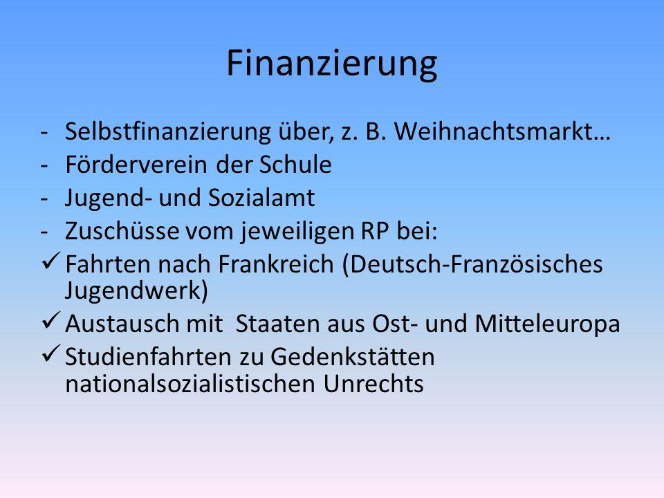Finanzierung Selbstfinanzierung über, z. B. Weihnachtsmarkt…