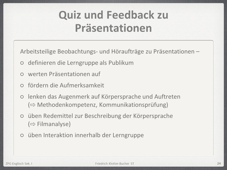Quiz und Feedback zu Präsentationen
