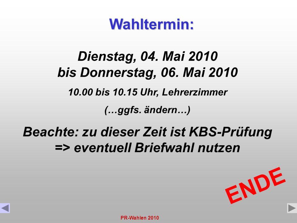 Dienstag, 04. Mai 2010 bis Donnerstag, 06. Mai 2010