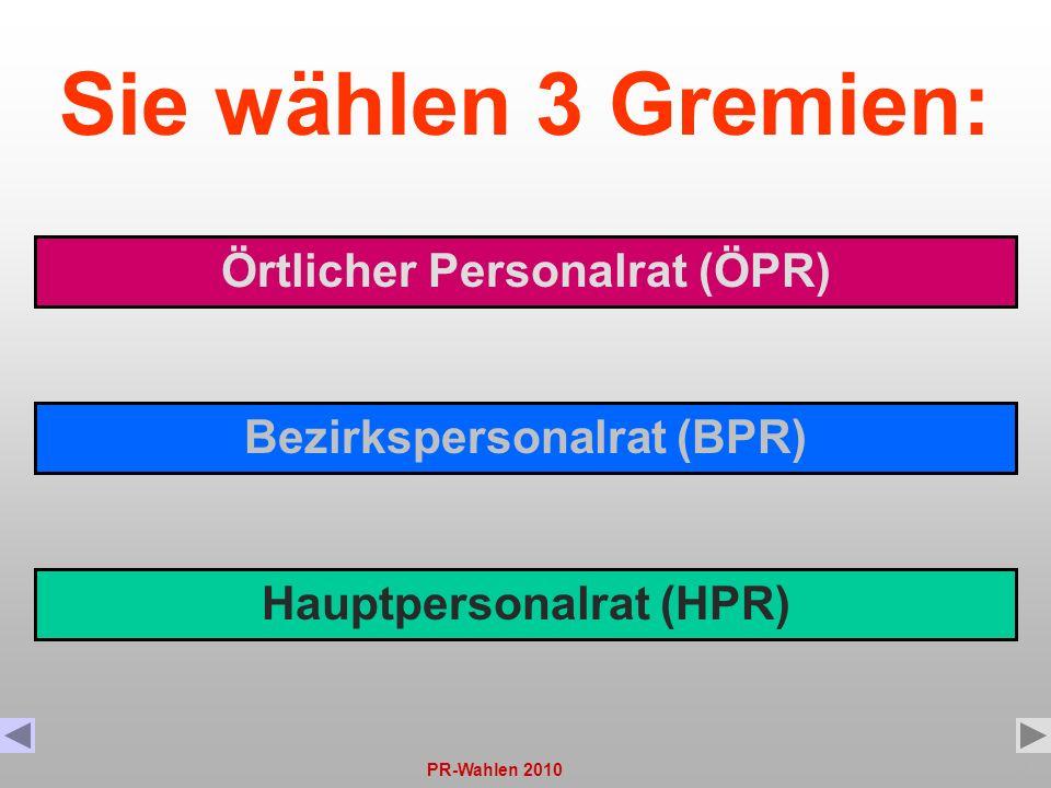Sie wählen 3 Gremien: Örtlicher Personalrat (ÖPR)