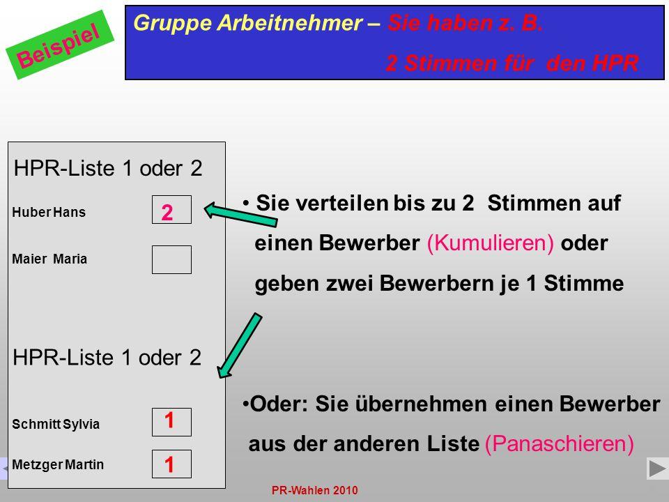 Gruppe Arbeitnehmer – Sie haben z. B. 2 Stimmen für den HPR Beispiel