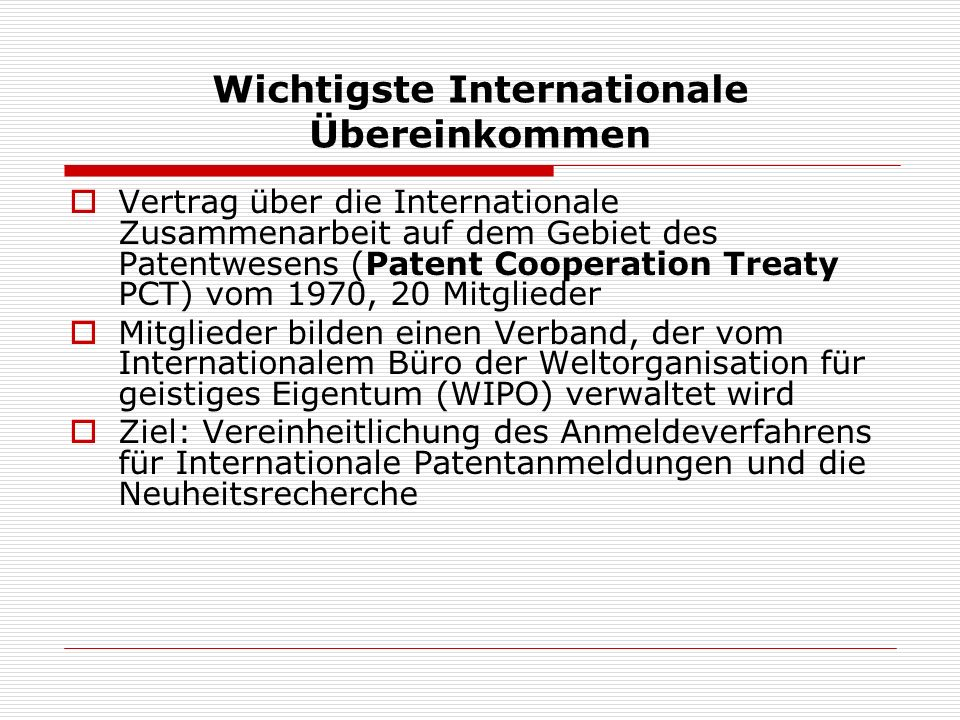 Wichtigste Internationale Übereinkommen