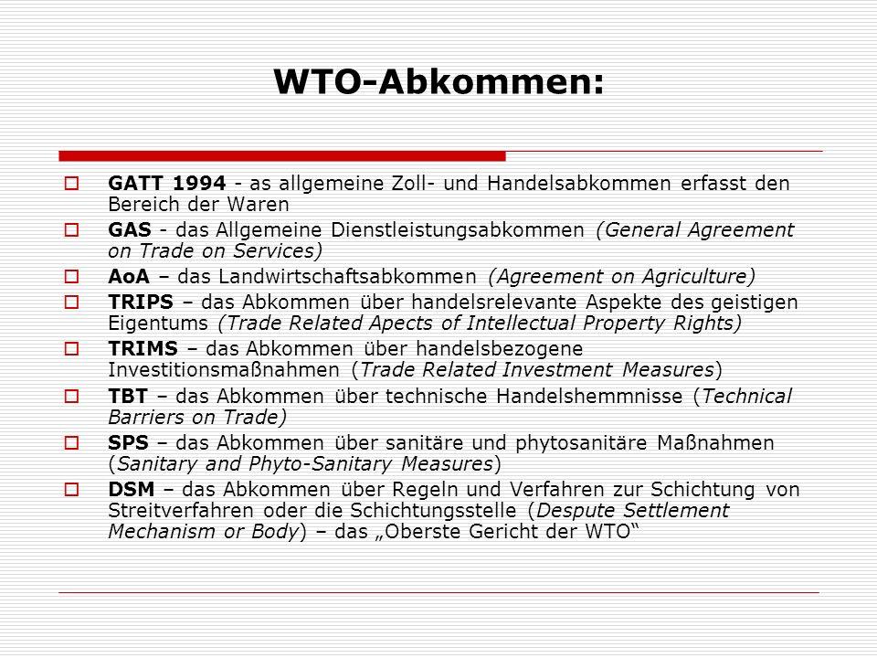 WTO-Abkommen: GATT 1994 - as allgemeine Zoll- und Handelsabkommen erfasst den Bereich der Waren.