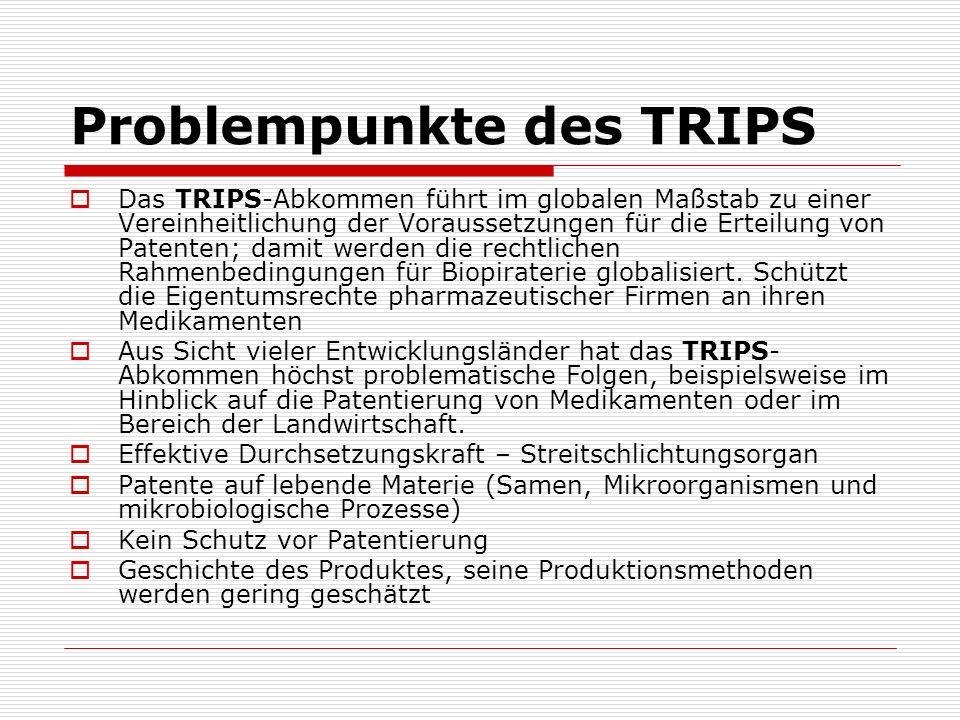 Problempunkte des TRIPS