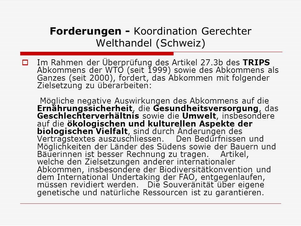 Forderungen - Koordination Gerechter Welthandel (Schweiz)