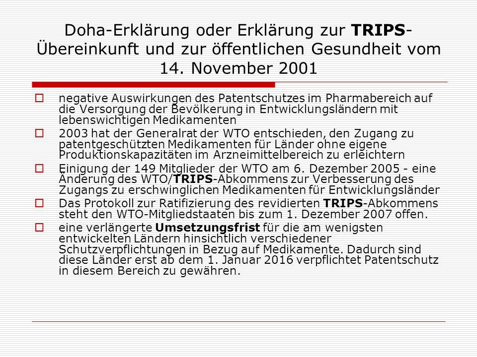 Doha-Erklärung oder Erklärung zur TRIPS-Übereinkunft und zur öffentlichen Gesundheit vom 14. November 2001