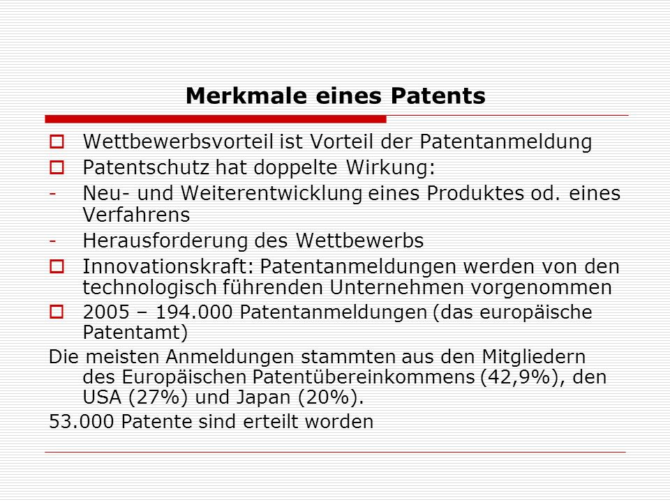 Merkmale eines Patents