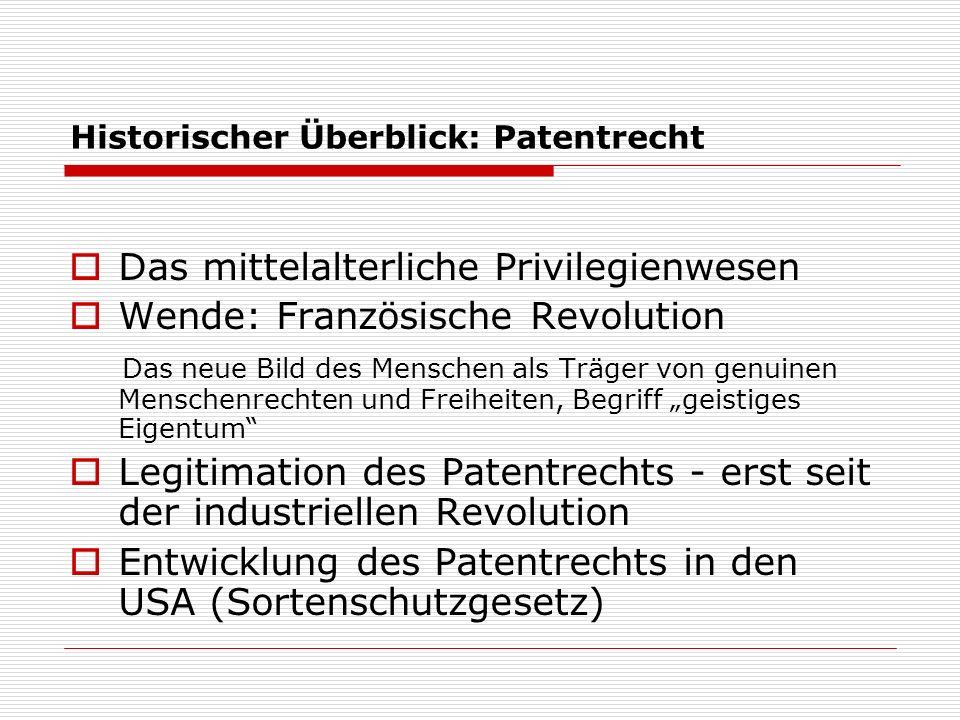 Historischer Überblick: Patentrecht