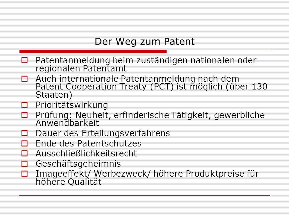 Der Weg zum Patent Patentanmeldung beim zuständigen nationalen oder regionalen Patentamt.