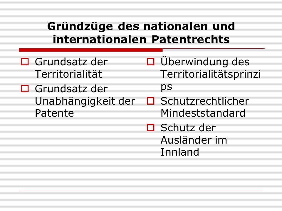 Gründzüge des nationalen und internationalen Patentrechts