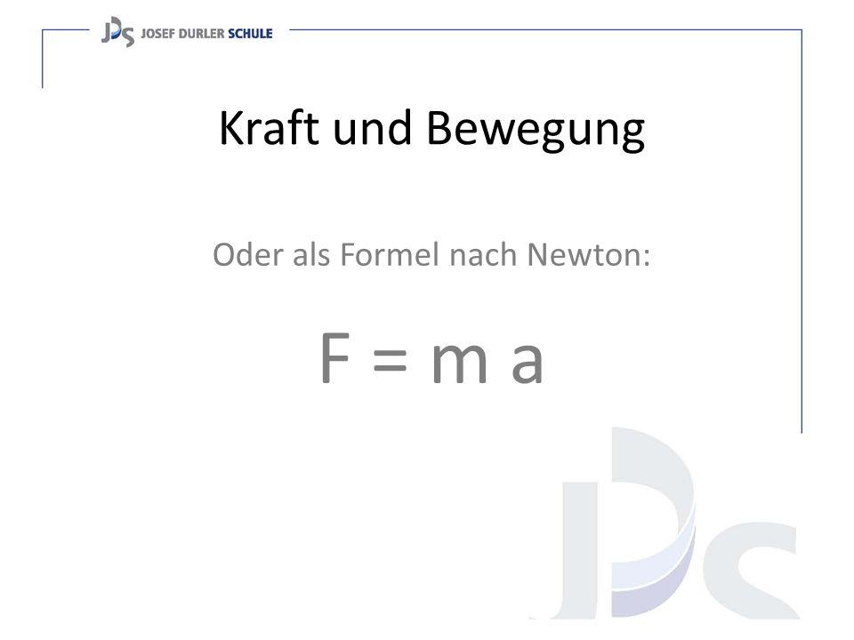 Oder als Formel nach Newton: F = m a