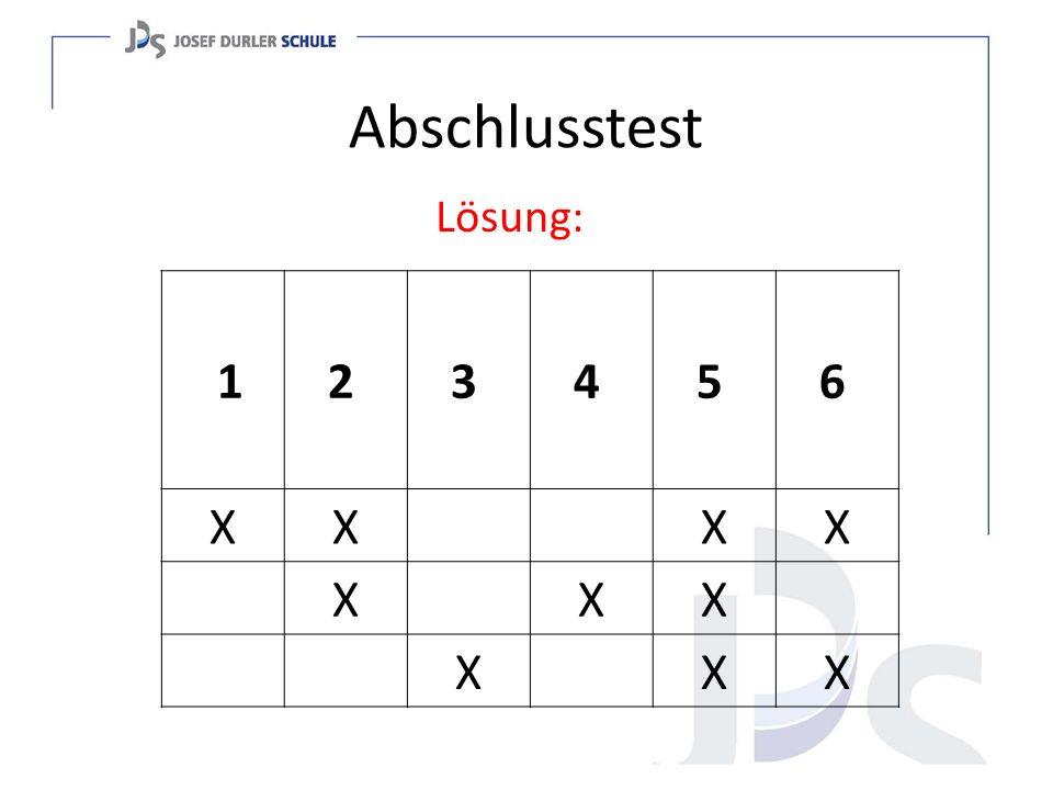 Abschlusstest Lösung: 1 2 3 4 5 6 X