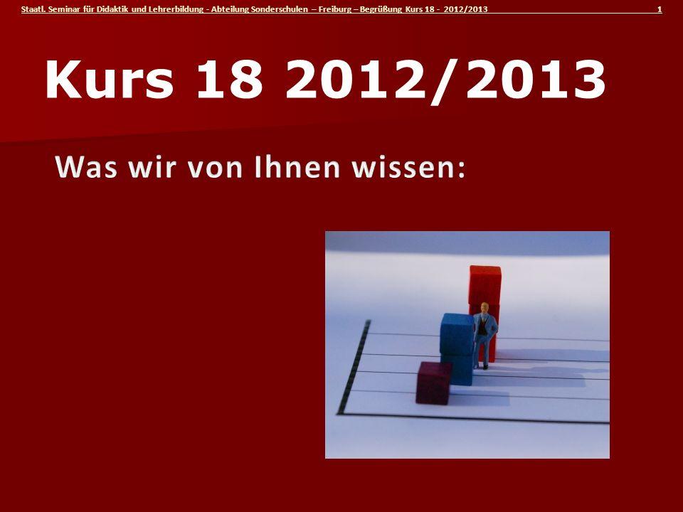 Kurs 18 2012/2013 Was wir von Ihnen wissen: