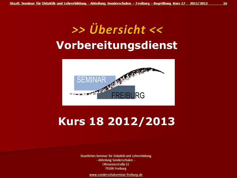 >> Übersicht << Vorbereitungsdienst am Kurs 18 2012/2013