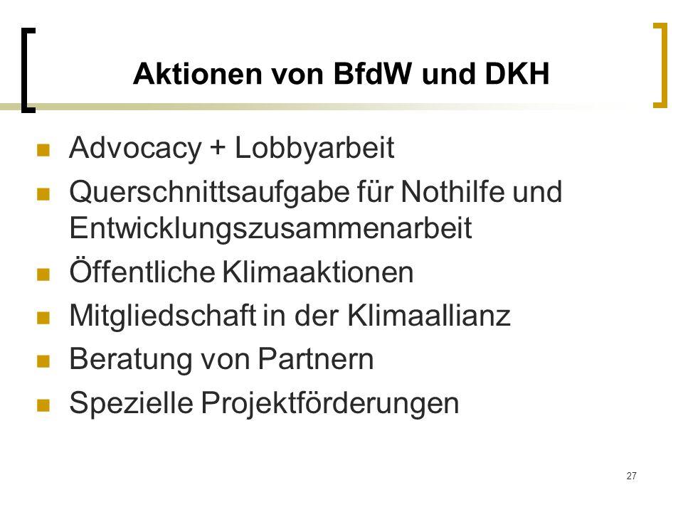 Aktionen von BfdW und DKH