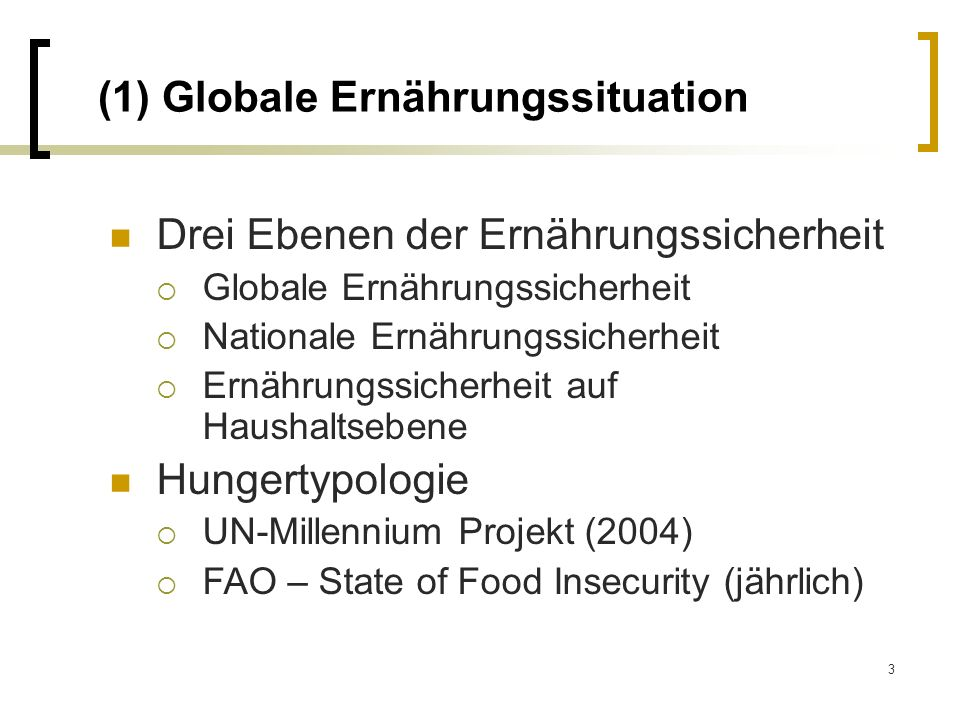 (1) Globale Ernährungssituation